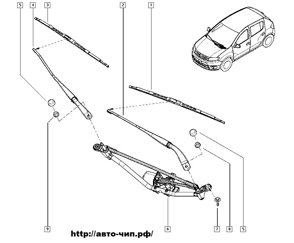 Схема дворников Рено Логан