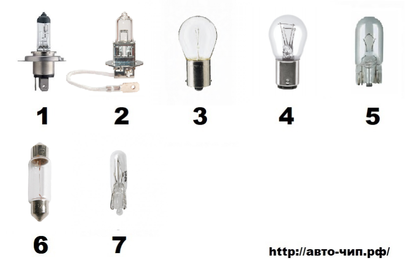 Применяемые лампы Матиз